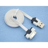 Apple - Cable Plat (2 Metres) De Synchronisation Pour Iphone 3,4,4s / Ipod Touch / Ipad 1,2 & 3 De Couleur Blanc