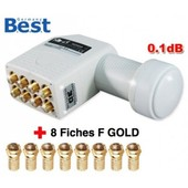 LNB Octo Best Germany 0,1dB HD T�te Parabole 8 Sorties + 8 fiches F Gold