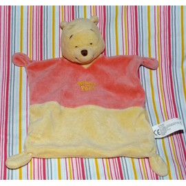 Winnie L'ourson The Pooh Ours Doudou Plat Rouge Rose Et Jaune Nicotoy
