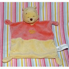 Winnie L'ourson The Pooh Ours Doudou Plat Rouge Rose Et Jaune Nicotoy