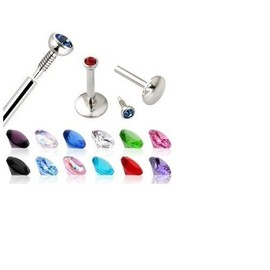 Lot De 5 Piercing Labret De Levre Mouche Strass Metal Coloris Ass.