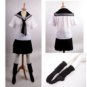 Ensemble Robe Uniforme Scolaire Japonais Sailor Fuku Loose Socks Chaussettes Noeud Foulard Coll�gienne Lyc�enne Ecoli�re Kawa� Moe D�guisement Cosplay Costume Convention Black Sugar Boutique Paris