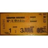 Coupon De Carte Orange Juin 1985