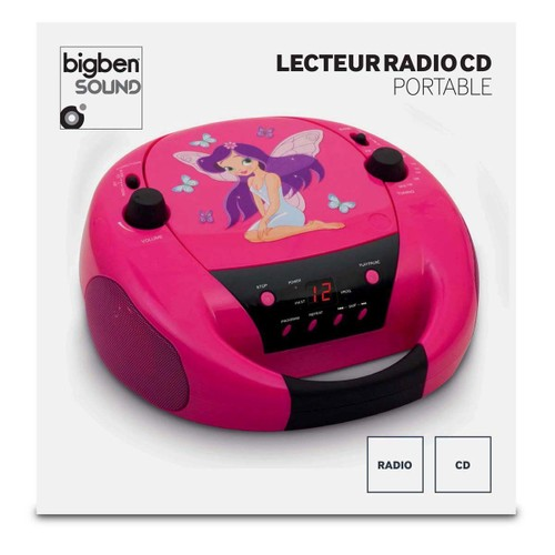 BigBen Interactive CD52 Lecteur CD avec Radio portable Motif Fairy II Rose