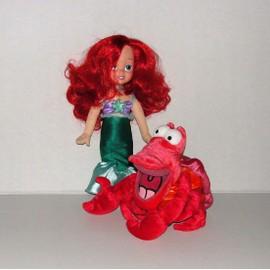 La Petite Sirene Arielle Et Sebastien Le Crabe Peluche Et Poup�e Disney