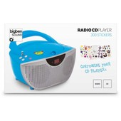 LECTEUR RADIO CD PORTABLE BLEU + 300 STICKERS