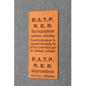 Contremarque Ratp - Rer