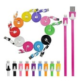 Cable Chargeur Usb 2.0 Iphone 5 / 5c / 5s Ipad Ipod Nano Apple Mac Couleurs - Cable Plat