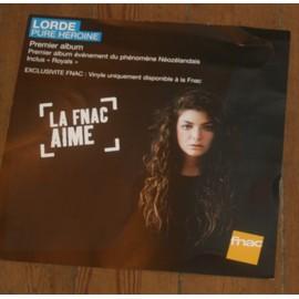 rare plv souple 30x30cm LORDE premier album du phénomène néozelandais PURE HEROINE / magasins FNAC