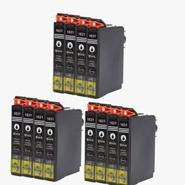 12x Cartouches D'encres Compatible Pour T1631xl T1631 Xl Avec Puce , Epson Workforce Wf2010 W, Wf2510 Wf, Wf2520 Nf, Wf2530 Wf, Wf2540 Wf (Noir)