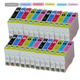 24 X Cartouches D'encres Compatible Pour (T0807) T0801 T0802 T0803 T0804 T0805 T0807 Avec Puce , Epson Stylus Photo Px820fwd, Photo Px830fwd, Photo R265, Photo R285, Photo R360, Photo Rx560