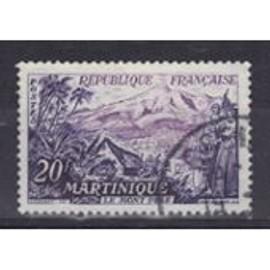 France 1955 : Le Mont Pelé, Martinique - Timbre Oblitéré