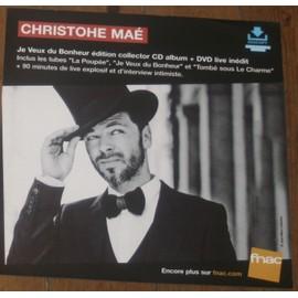 rare PLV souple 30x30cm CHRISTOPHE MAE je veux du bonheur EDITION COLLECTOR / magasins FNAC
