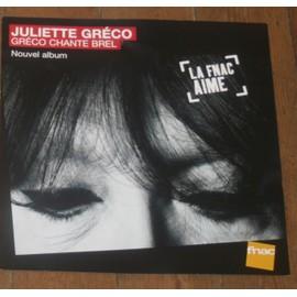 rare PLV souple 30x30cm JULIETTE GRECO chante BREL / magasins FNAC