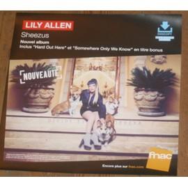 rare PLV souple 30x30cm LILY ALLEN sheezus 2014 / magasins FNAC