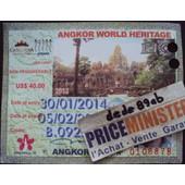 Billet Passe 5 Jours Pour La Visite Des Temples D' Agkor - Cambodge .