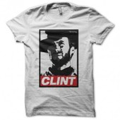 T-Shirt Clint Eastwood Parodie Obey Blanc