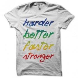 T-shirt Daft Punk Harder Better Faster Stronger blanc
