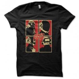 T-shirt daft punk logo pop art en noir
