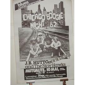 J.B.HUTTO - CHICAGO BOOGIE NIGHT 82 - POSTER - AFFICHE ORIGINALE BLUES - CONCERT PARIS
