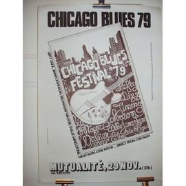 CHICAGO BLUES FESTIVAL 1979-POSTER-AFFICHE ORIGINALE-JIMMY JOHNSON-LEFTY DIZZ