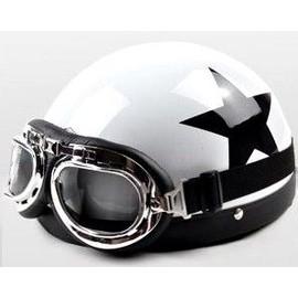 "Occasion, Casque ""Bol"" Rétro - Moto / Scooter / Vespa / Harley / Biker / Cosplay - Style Vintage anarchy - black Star ghost Rider + Lunettes Type Aviateur - Noir / Blanc"