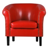 Fauteuil Crapaud Monaco Simili Cuir Rouge