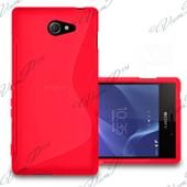 Housse Etui Pochette Coque S Silicone Gel Rouge Pour Sony Xperia M2/ M2 Dual + Film