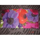 2 Serviettes En Papier D�cor Fleurs De Coquelicots Multicolores