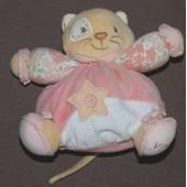 Chat Doudou Cat Kaloo Rose Hochet Grelot Blanc Rose Tissu � Fleurs Beige Patapouf Boule 19 Cm