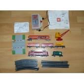 Ensemble Jouef Ann�es 70: Locomotive Bb 9288, 5 Wagons, Grue, Passage � Niveau, Rails Et Alimentation �lectrique