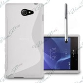 Sony Xperia M2/ M2 Dual Coque Housse Etui Pochette S Silicone Gel Blanc + Film+ Stylet