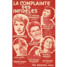 """partition MOULOUDJI CATHERINE SAUVAGE DANIELLE DARRIEUX JACQUELINE FRANCOIS MICHELE ARNAUD la complainte des infideles ( rouge ) du film """" LA MAISON BONNADIEU """""""