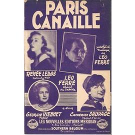 partition LEO FERRE CATHERINE SAUVAGE RENEE LEBAS GEORGIE VIENNET Paris canaille ( bleue )