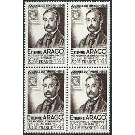 france 1948, très beau bloc 4 valeurs yv. 794, louis arago, qui a fait adopter le timbre poste en france en 1848, neufs** luxe