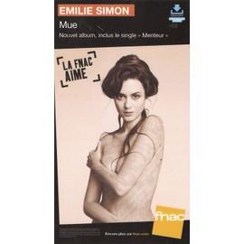 rare PLV cartonnée rigide 14x25cm EMILIE SIMON mue 2014 / magasins FNAC