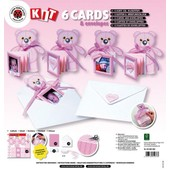 6 Cartes Faire Part - Rose - Nounours Et Enveloppes - Karen Marie Klip