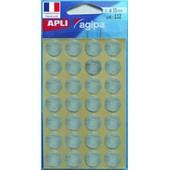 Gommettes Rondes - 112 Pastilles Argent� - � 15 Mm - Apli Agipa