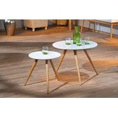 Lot De 2 Tables D'appoint Phillis Moderne Meuble Salon S�jour Blanc Et Bambou