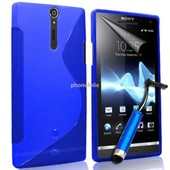 Sony Xperia S Lt26i: Housse Etui Pochette Coque S Silicone Gel+ Stylet- Bleu