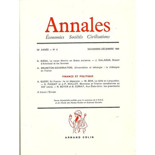Annales Economies Societes Civilisations  39e Annee Novembre Decembre 1984 N 6 Finance Et Politique 900578476_L