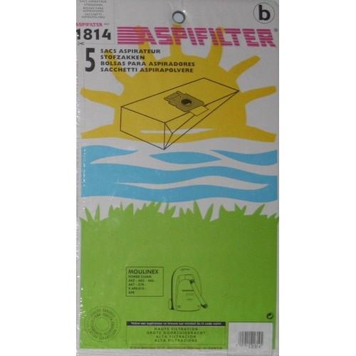 aspifilter 1814 lot de 5 sacs aspirateur pour moulinex power clean. Black Bedroom Furniture Sets. Home Design Ideas