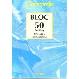 Bloc 50 Feuilles Concorde Uni 80 G Velin Superieur Format 148 X 210