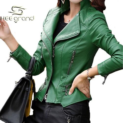 Veste en cuir vert kaki femme