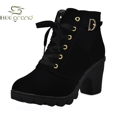 boots femme lacets talon boots talons pour femme en cuir avec lacets et perforations. Black Bedroom Furniture Sets. Home Design Ideas