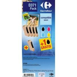 carrefour e071 pack pack 4 cartouches 3 couleurs noir compatible epson t0711 t0712. Black Bedroom Furniture Sets. Home Design Ideas
