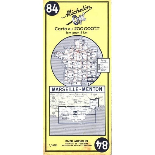 marseille menton carte n 84 de michelin neuf occasion. Black Bedroom Furniture Sets. Home Design Ideas