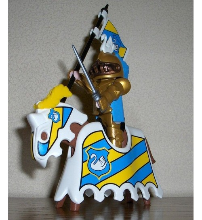 chevalier a cheval arme bleu et jaune - Playmobile Chevalier