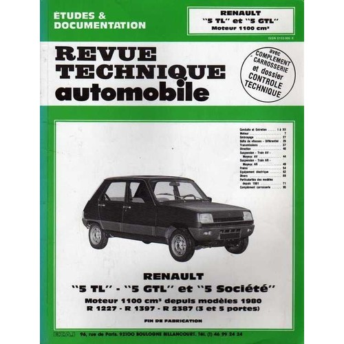 renault 5 tl 5 gtl et 5 soci t avec compl ment carrosserie et dossier contr le technique. Black Bedroom Furniture Sets. Home Design Ideas