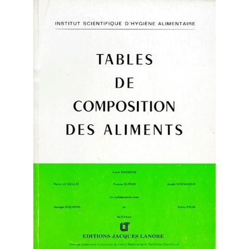 tables de composition des aliments de lt jacques lanore format broch. Black Bedroom Furniture Sets. Home Design Ideas